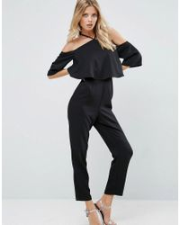 ASOS   Black Jumpsuit With Ruffle Bardot And Halter Neck Detail   Lyst