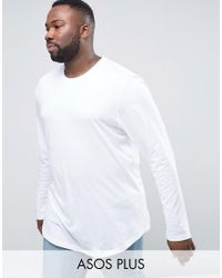 ASOS | Plus Super Longline Long Sleeve T-shirt With Curved Hem In White for Men | Lyst