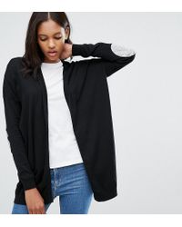 ASOS | Black Swing Cardigan With Gray Oval Elbow Patch | Lyst