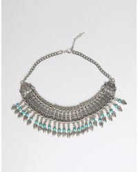 Raga - Metallic Fringe Statement Necklace - Lyst