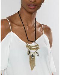 Raga - Metallic Arrows With Fringe Necklace - Lyst