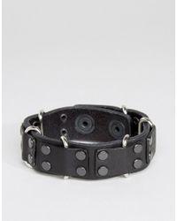 DIESEL - Black A-carez Studded Leather Bracelet for Men - Lyst