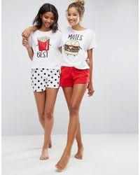 ASOS - Multicolor 2 Pack Best Mates Burger & Fries Tee & Short Pyjama Sets - Lyst