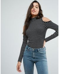 ASOS | Black Top With Cold Shoulder In Stripe Rib | Lyst