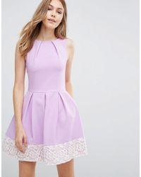 Closet | Purple Closet Contrast Lace Hem Skater Dress | Lyst