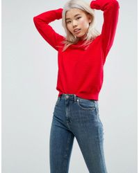 ASOS | Red Jumper In Ripple Stitch | Lyst