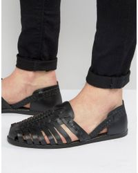 ASOS   Woven Sandals In Black Leather for Men   Lyst