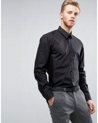 HUGO | By Boss Elisha Shirt Poplin Slim Fit In Black for Men | Lyst