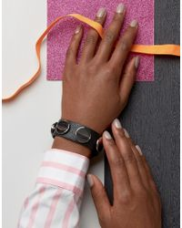 ASOS - Black Faux Leather Screw Stud Bracelet - Lyst
