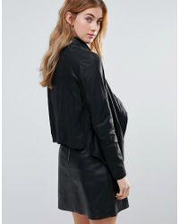 Muubaa - Black High Neck Wrap Over Leather Jacket - Lyst