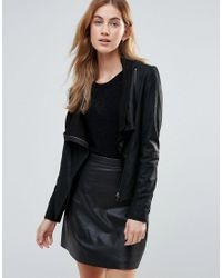 Muubaa - Black High Neck Wrap Over Leather Jacket - Lyst