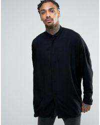 ASOS | Oversized Viscose Shirt With Dropped Shoulder In Black for Men | Lyst