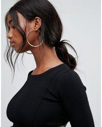 River Island   Metallic Medium Flat Bottom Hoop Earrings   Lyst