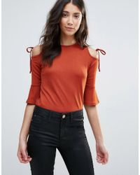 Daisy Street | Brown Cold Shoulder Top With Tie Detail | Lyst