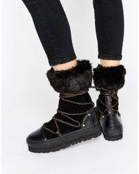 Sixtyseven | Black Lace Up Snow Boots | Lyst