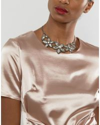 Ruby Rocks - Metallic Floral Jewelled Necklace - Silver/clear - Lyst