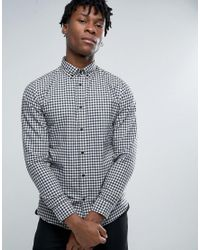 SELECTED | Blue Long Sleeve Slim Fit Shirt In Gingham Check Button Down Collar for Men | Lyst
