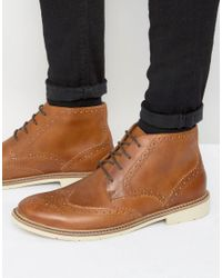 Tommy Hilfiger | Brown Metro Leather Lace Up Brogue Boots for Men | Lyst