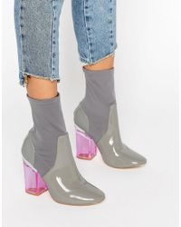 Truffle Collection - Gray Clear Heel Boot - Lyst