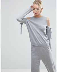 ASOS | Gray Jumper With Tie Cold Shoulder In Cashmere Mix Co-ord | Lyst