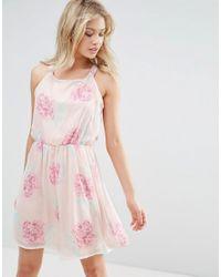Zibi London - Pink Racer Back Floral Skater Dress - Lyst