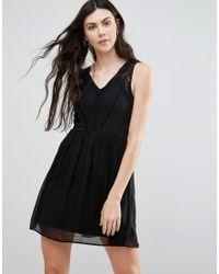 Vero Moda | Black Skater Dress With Lace Panel | Lyst