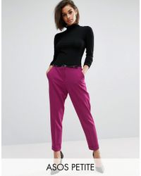 ASOS | Pink Cigarette Trousers With Belt | Lyst
