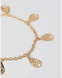 ASOS - Metallic Design Anklet With Filigree Charms In Gold - Lyst
