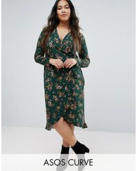 ASOS | Wrap Tea Dress In Green Base Floral Print With Frill Detail | Lyst