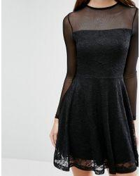 ASOS - Black Mesh Top Lace Skater Mini Dress - Lyst