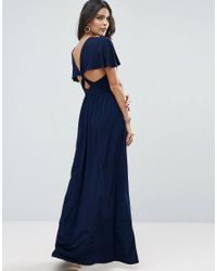 ASOS | Blue Kimono Cross Back Maxi Dress With Side Splits | Lyst