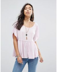 Free People | Purple Odyssey Smock Tee | Lyst