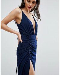 ASOS - Blue Ruched Cami Super Thigh Split Maxi Dress - Lyst