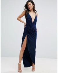 ASOS | Blue Ruched Cami Super Thigh Split Maxi Dress | Lyst