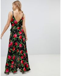 ASOS - Multicolor Asos Ruffle Front Wrap Maxi Cami Dress In Bold Floral - Lyst