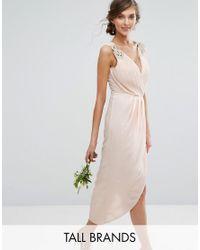 TFNC London | Natural Wedding Wrap Midi Dress With Embellishment | Lyst