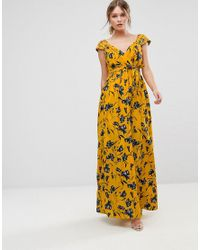 26207e2b8807 Traffic People Floral Chiffon Maxi Dress in Yellow - Lyst