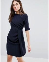 Vesper | Blue 3/4 Sleeve Pencil Dress With Pleat Detail | Lyst