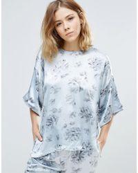 Ganni | White Gold St. Satin Floral Print Shirt | Lyst