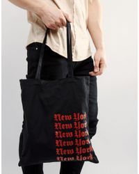 ASOS | Tote Bag In Black With New York Print for Men | Lyst