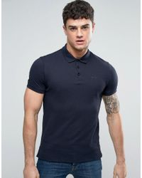 Armani Jeans | Pique Logo Polo Regular Fit In Blue for Men | Lyst