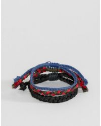 ASOS | Plaited Bracelet Pack In Blue And Red | Lyst