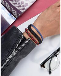 ASOS - Plaited Bracelet Pack In Blue And Red - Lyst