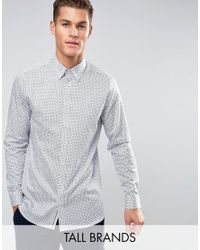 Ted Baker | White Tall Slim Smart Shirt In Geo Print for Men | Lyst