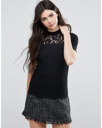 Vila | Black Short Sleeve Jumper With Lace Panel | Lyst