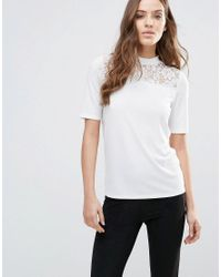 Vila   Black Short Sleeve Sweater With Lace Panel   Lyst