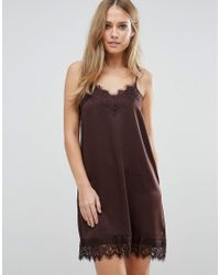 Vila | Brown Cami Slip Dress With Lace Detail | Lyst