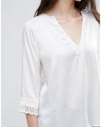 Vila - White 3/4 Sleeve Slinky Top - Lyst