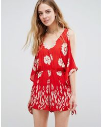 Band Of Gypsies | Red Floral Print Cold Shoulder Playsuit | Lyst