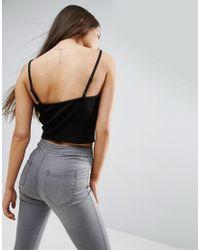 ASOS - Black Strappy Crop Cami In Textured Rib - Lyst